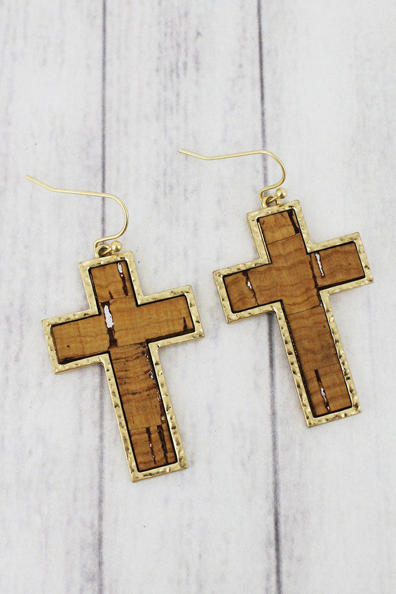 Natural Cork and Goldtone Cross Earrings