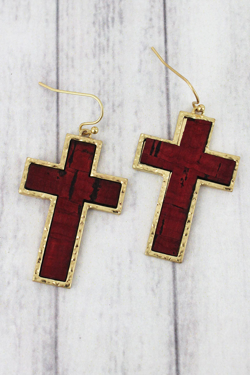 Red Cork and Goldtone Cross Earrings
