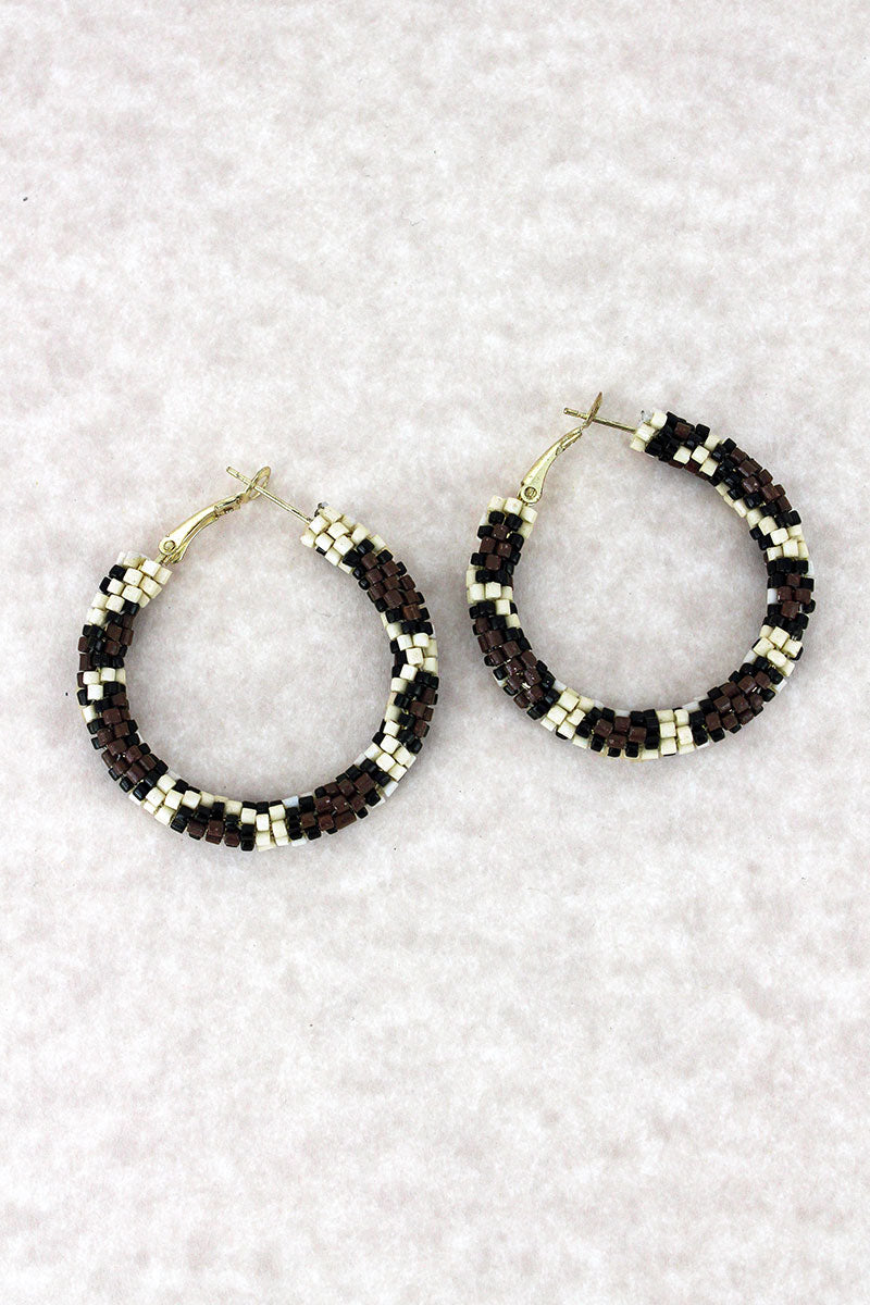 Ivory Leopard Seed Bead Hoop Earrings