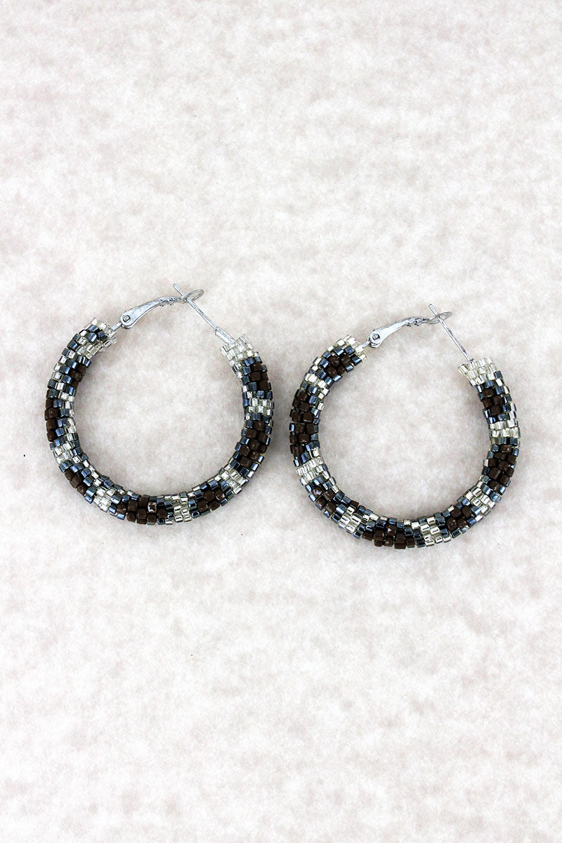Silver Leopard Seed Bead Hoop Earrings