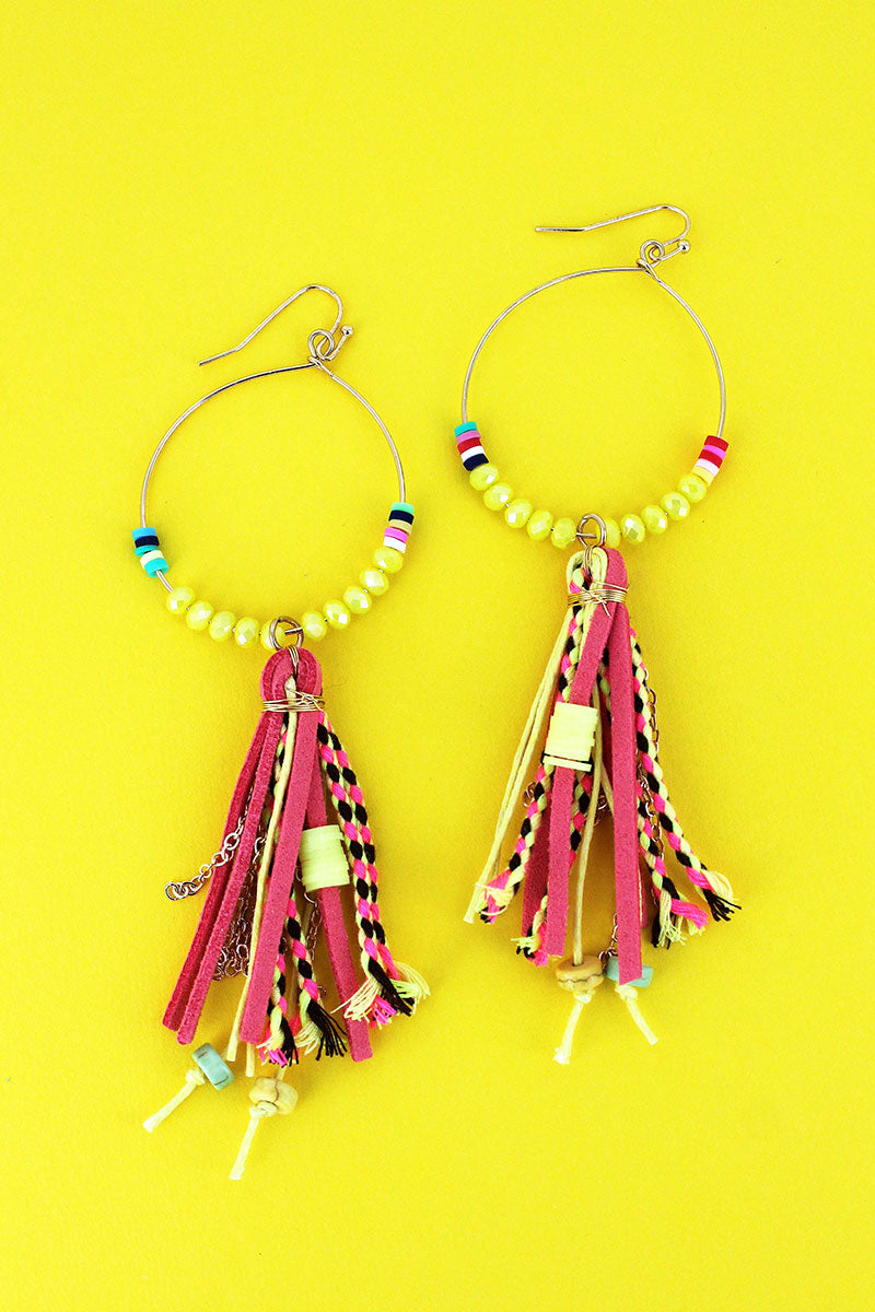 Yellow Multi-Color Beaded Goldtone Hoop & Tassel Earrings
