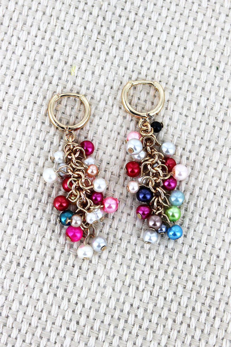 Multi-Color Pearl Cluster Huggie Hoop Earrings