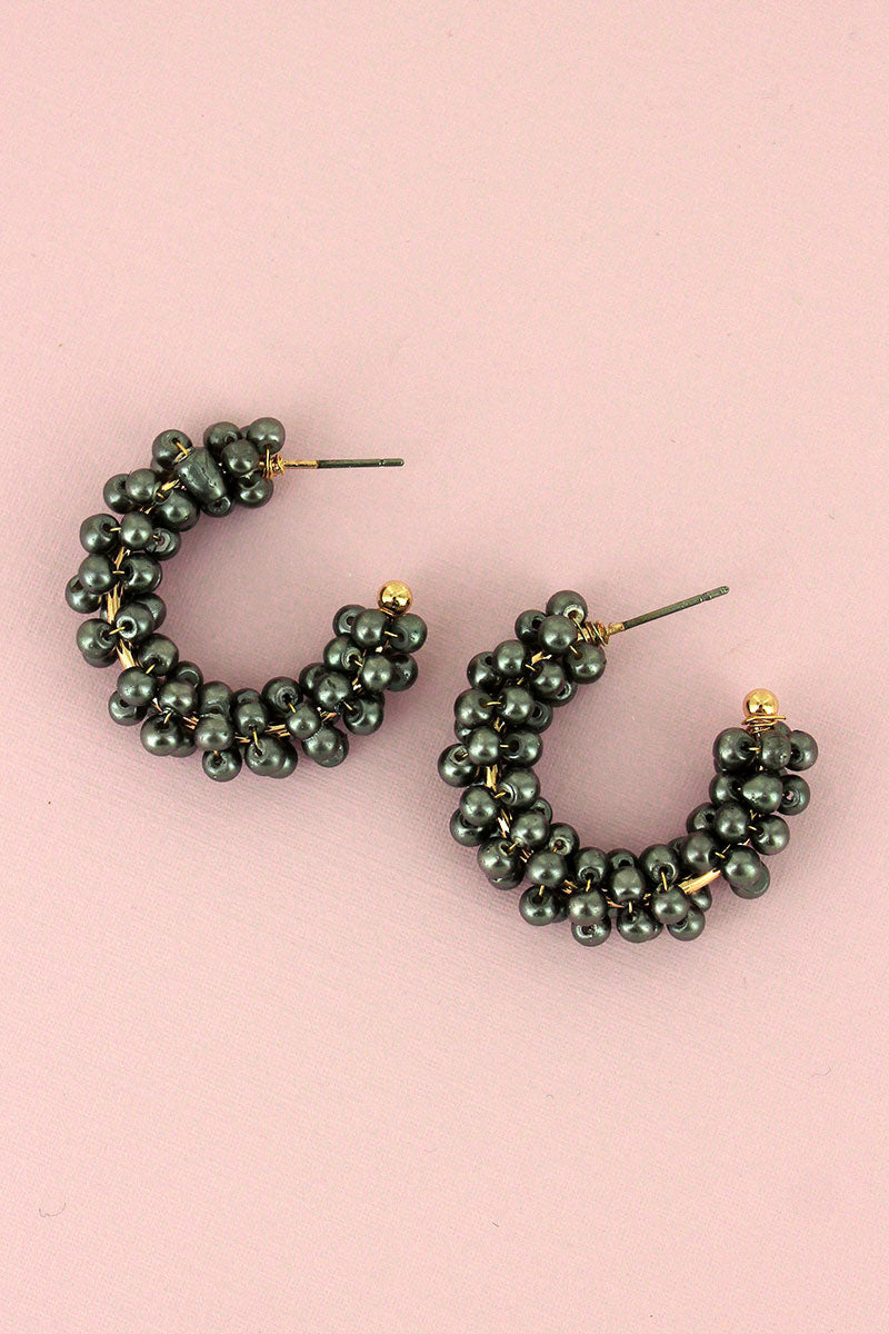 Gray Pearl Cluster Hoop Earrings