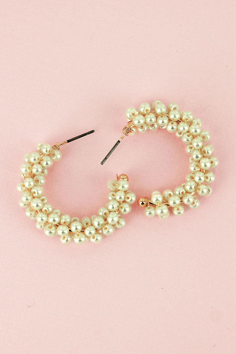 Ivory Pearl Cluster Hoop Earrings
