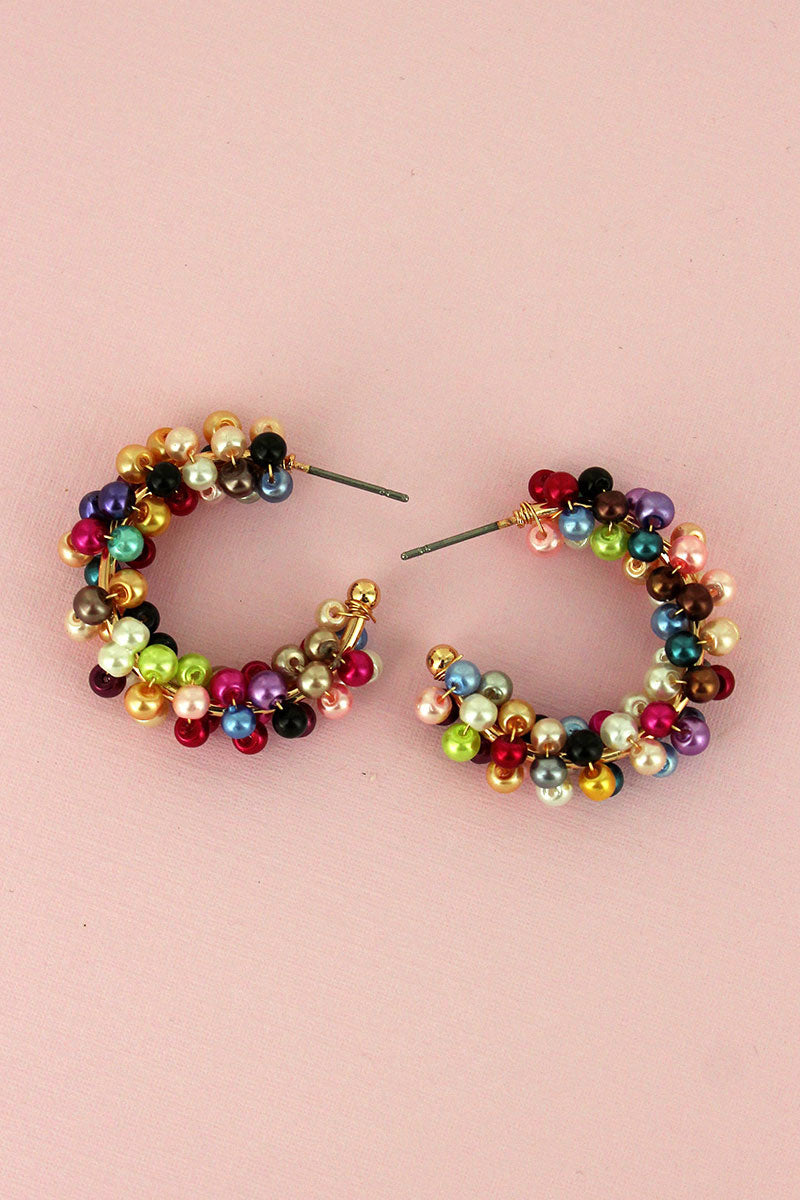 Multi-Color Pearl Cluster Hoop Earrings