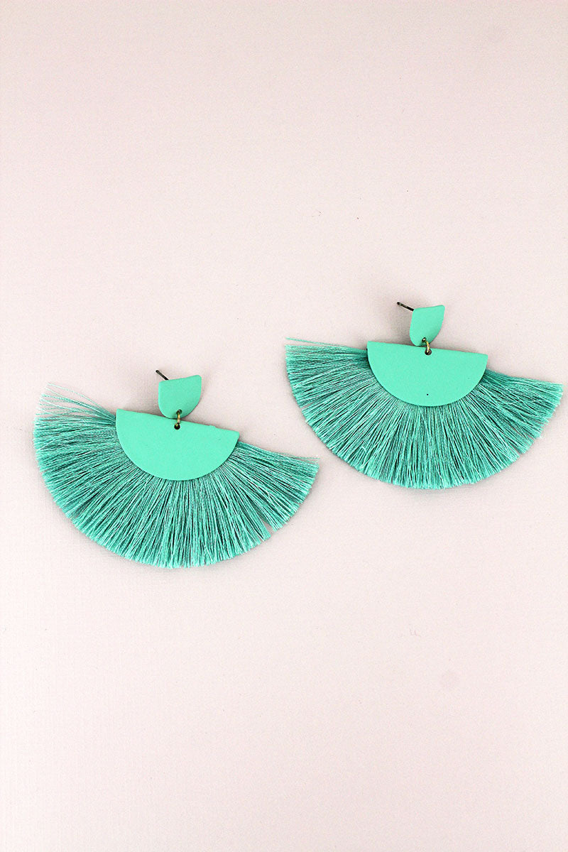 Mint Half-Moon Fan Tassel Earrings