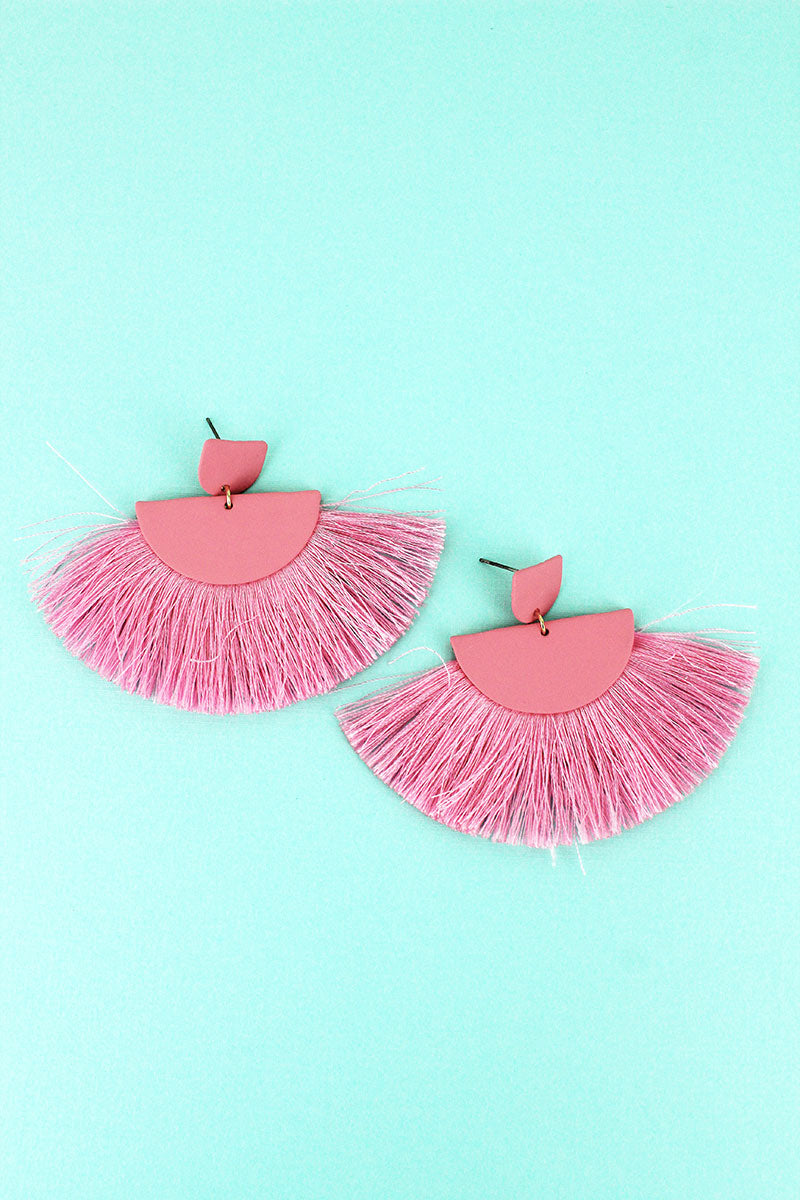 Pink Half-Moon Fan Tassel Earrings