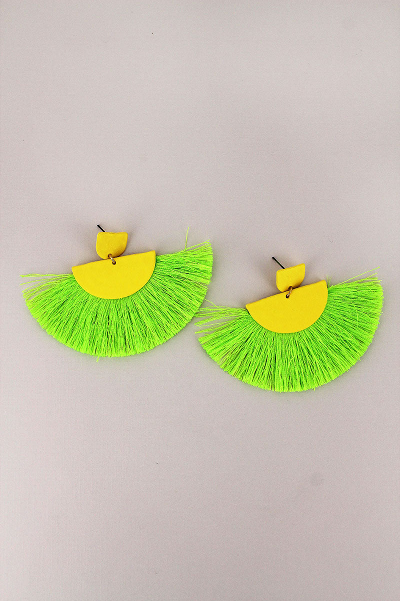 Yellow and Green Half-Moon Fan Tassel Earrings