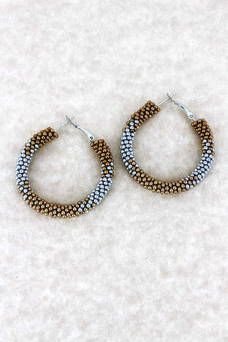 Silver and Gold Fade Seed Bead Hoop Earrings