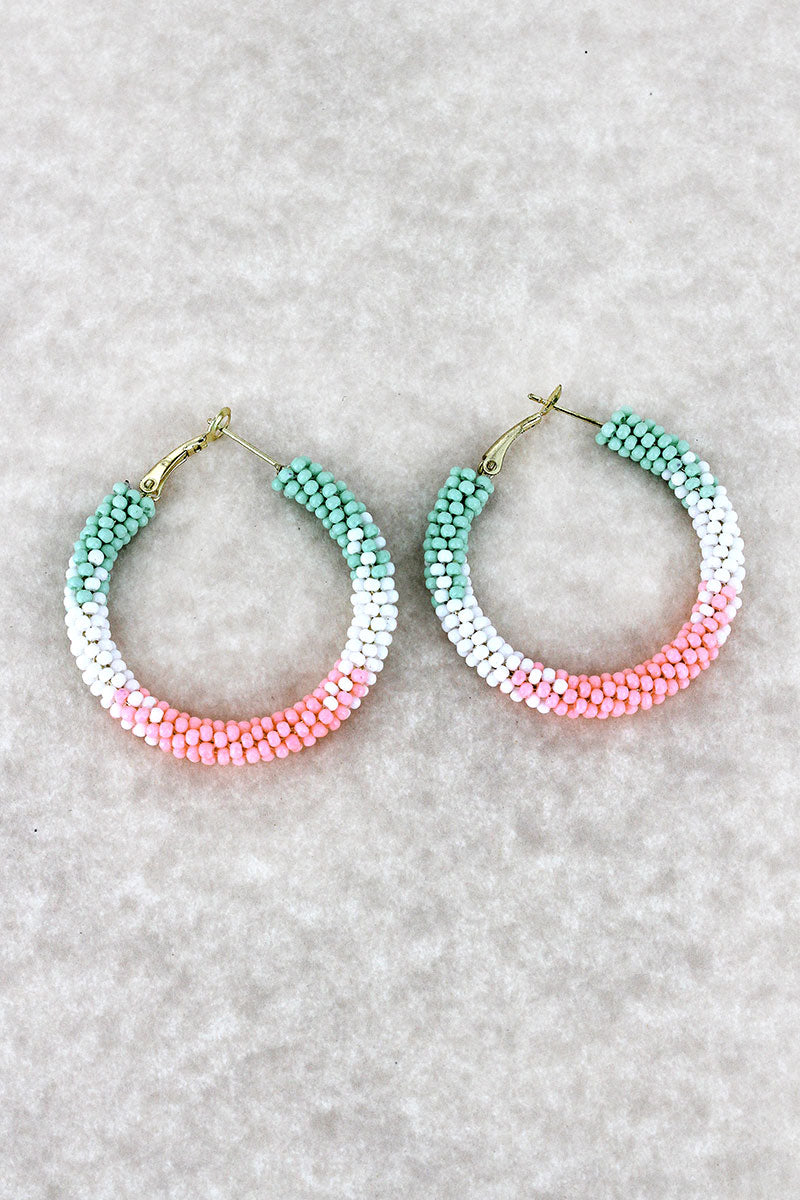 Pink Tri-Color Fade Seed Bead Hoop Earrings