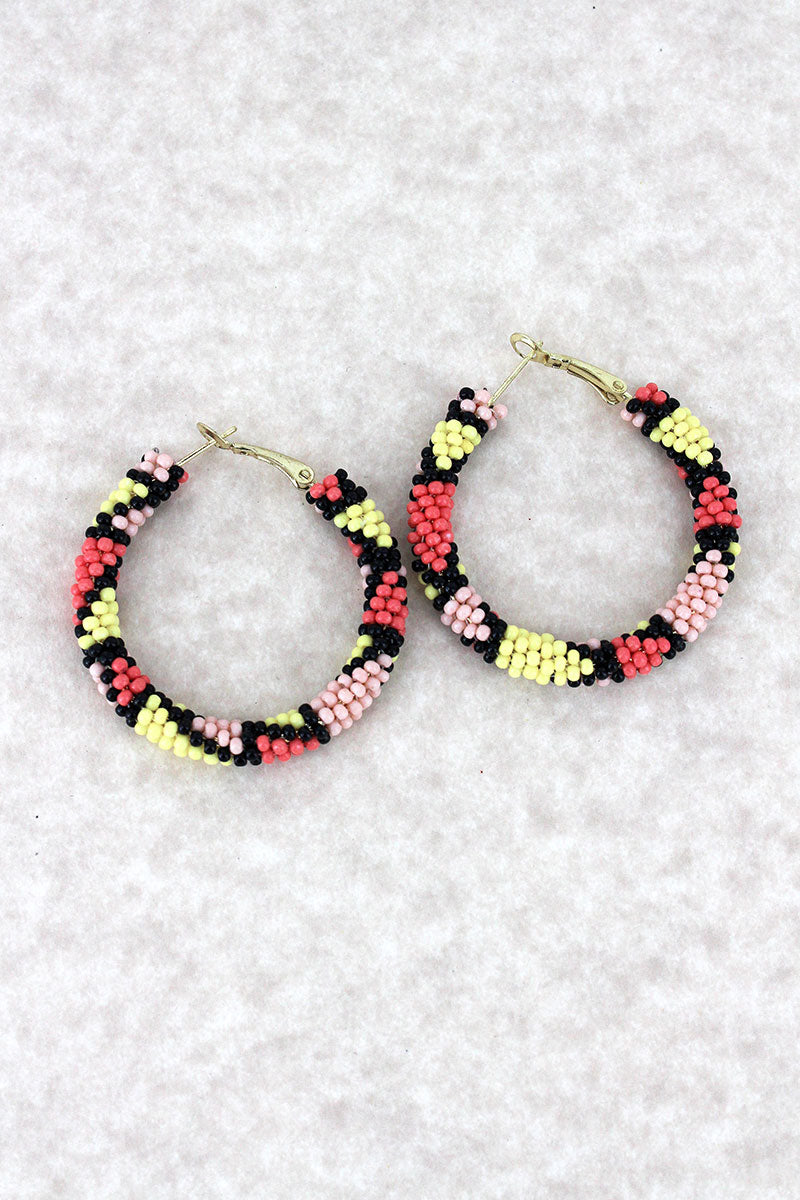 Coral Multi-Color Seed Bead Mosaic Hoop Earrings