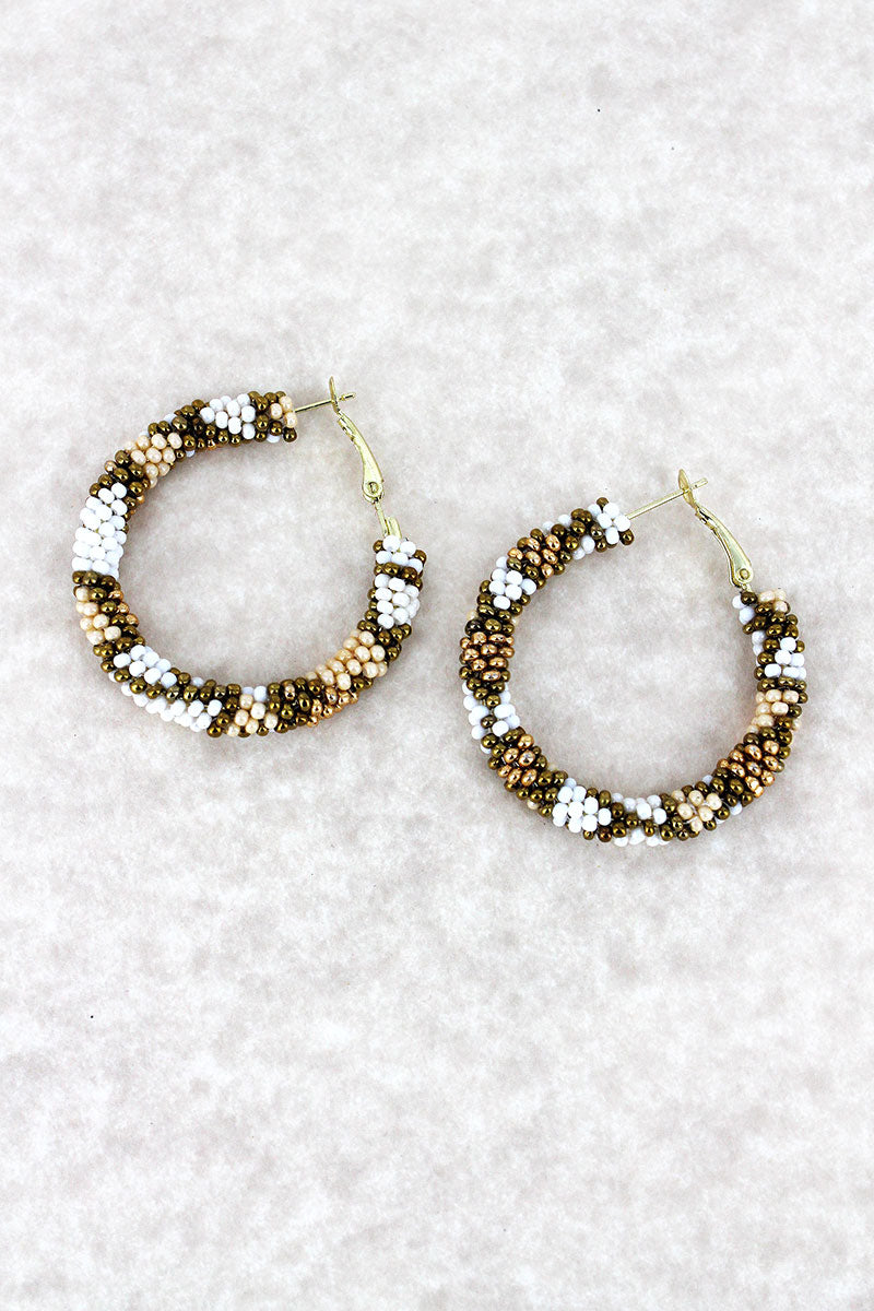 Ivory Multi-Color Seed Bead Mosaic Hoop Earrings