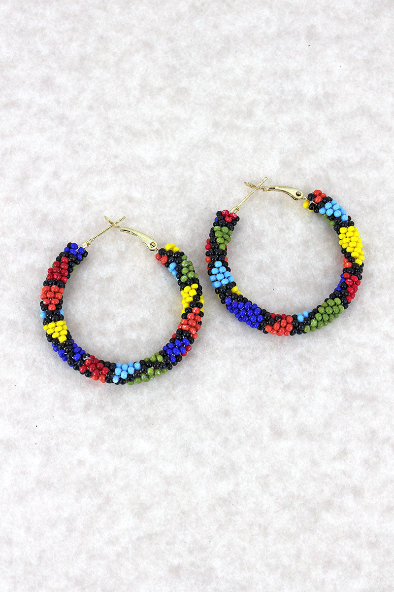 Multi-Color Seed Bead Mosaic Hoop Earrings