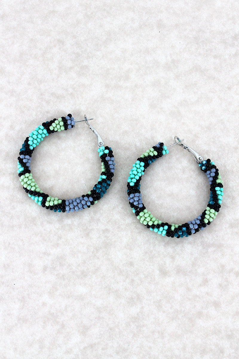 Turquoise Multi-Color Seed Bead Mosaic Hoop Earrings