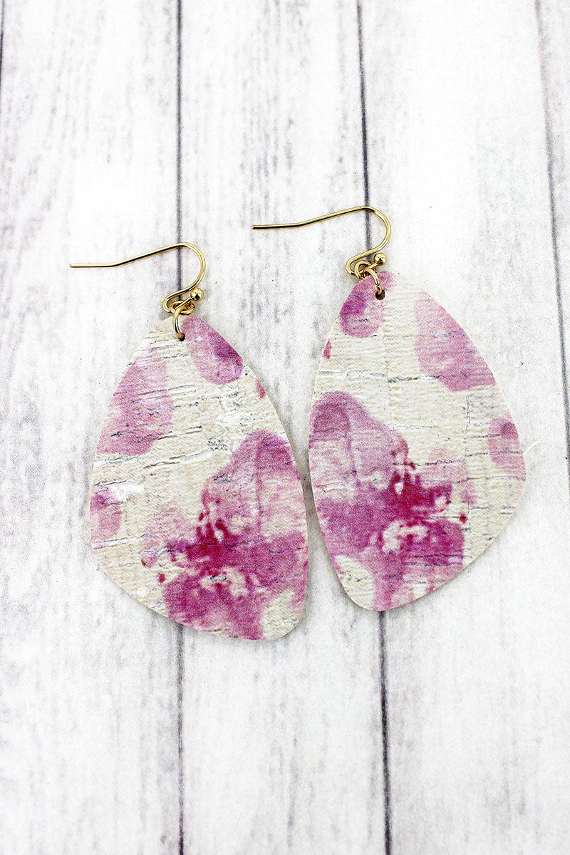 Pink Watercolor Splatter Cork Earrings