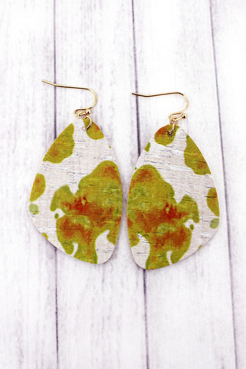 Yellow Watercolor Splatter Cork Earrings