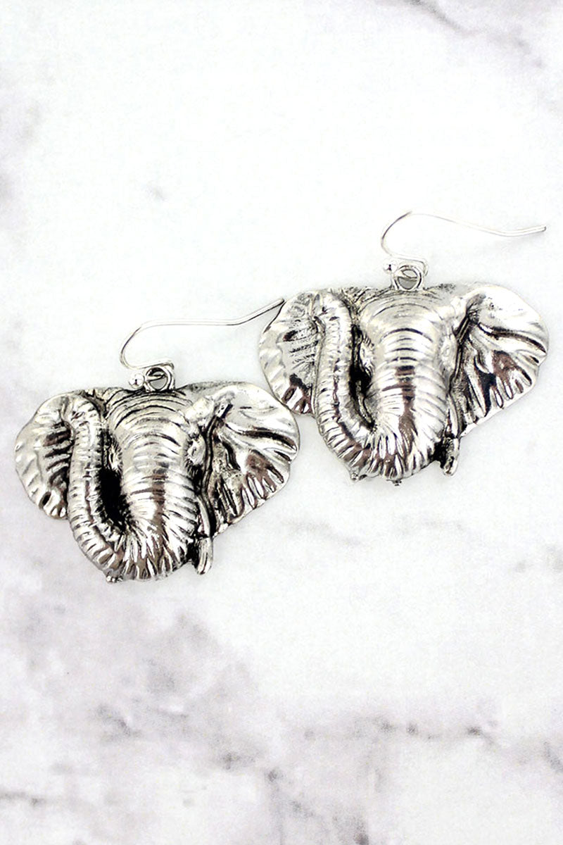 Antique Silvertone Elephant Head Earrings