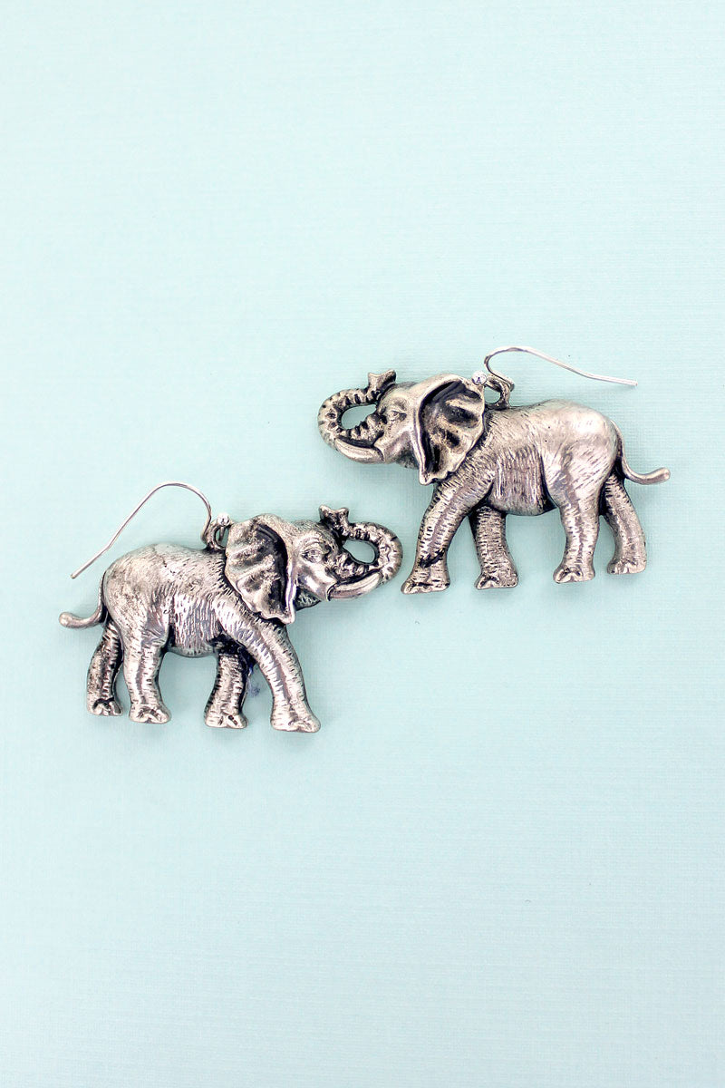 Antique Silvertone Trumpeting Elephant Earrings