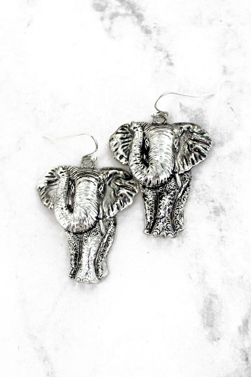 Antique Silvertone Elephant Earrings
