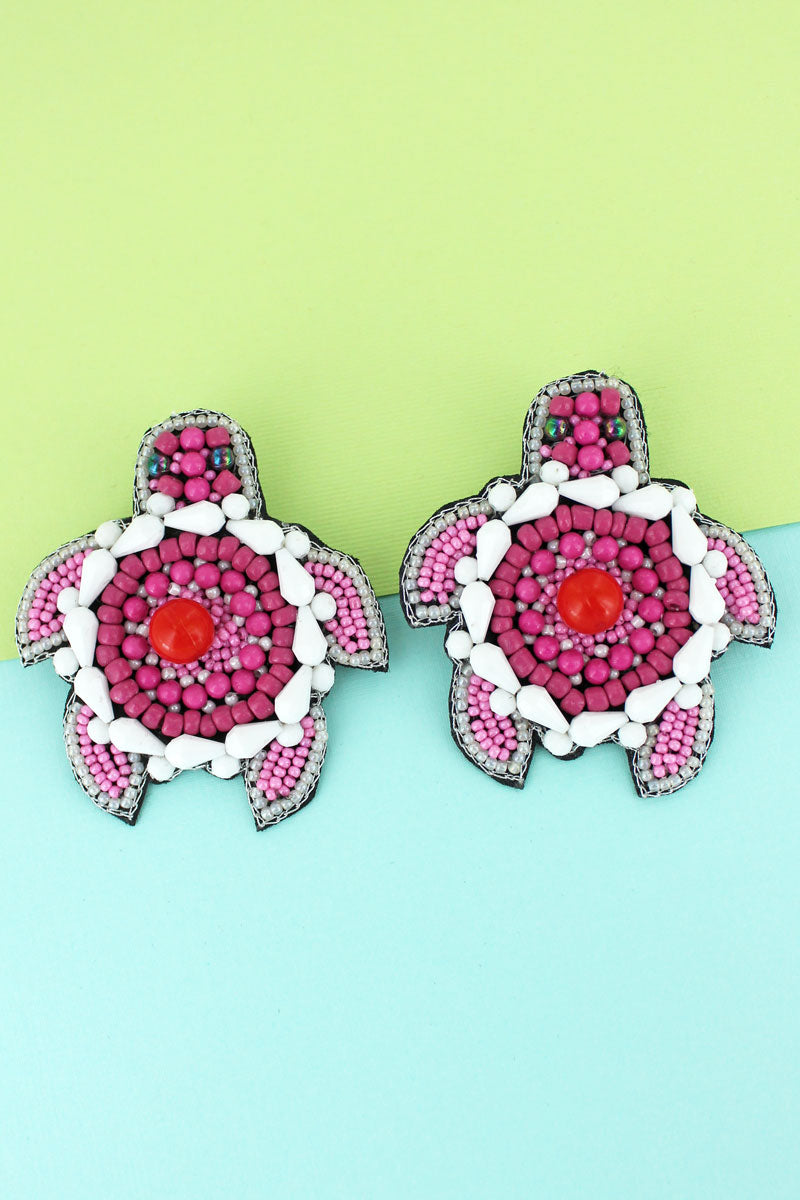 Coral Seed Bead Turtle Earrings