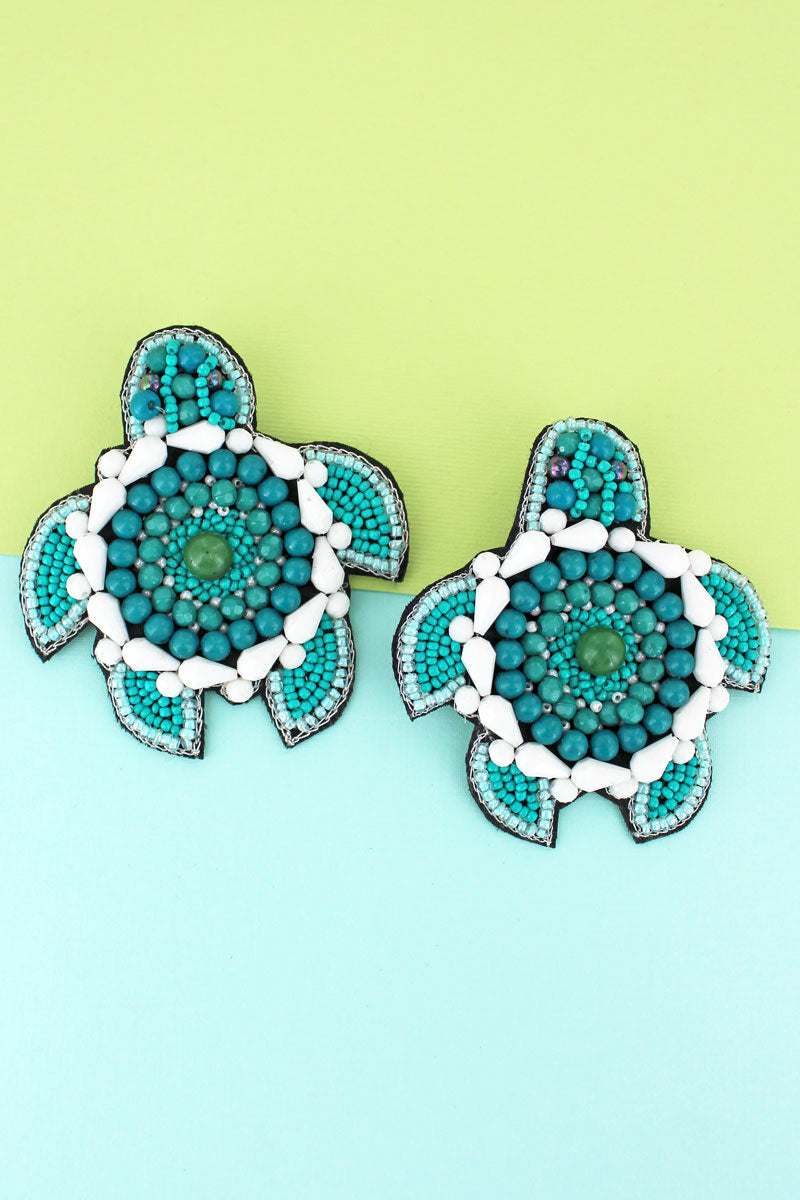 Turquoise Seed Bead Turtle Earrings