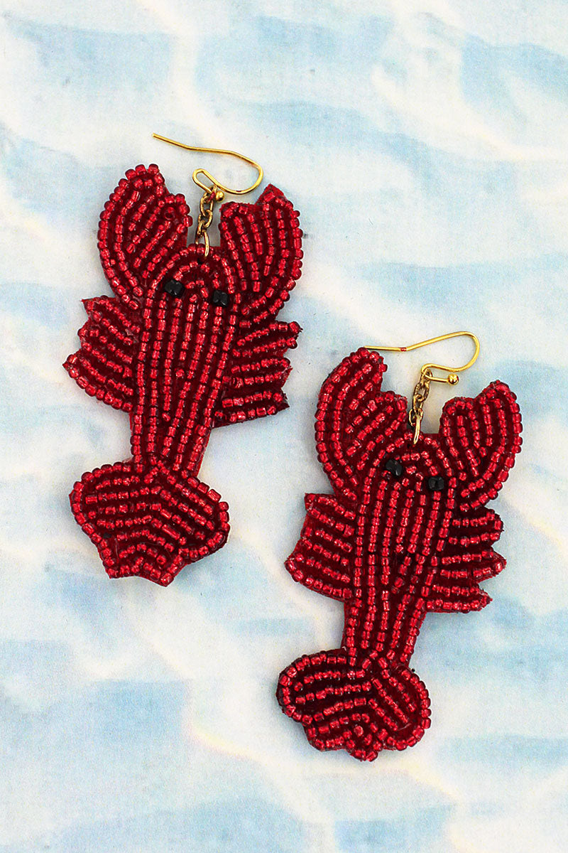 Red Seed Bead Lobster Earrings