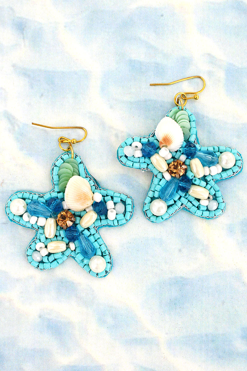 Turquoise Embellished Starfish Earrings