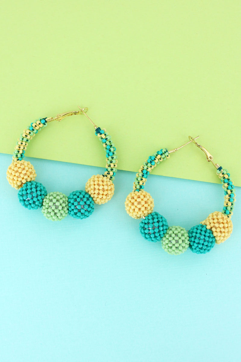 Mint Multi-Color Seed Bead Ball Hoop Earrings