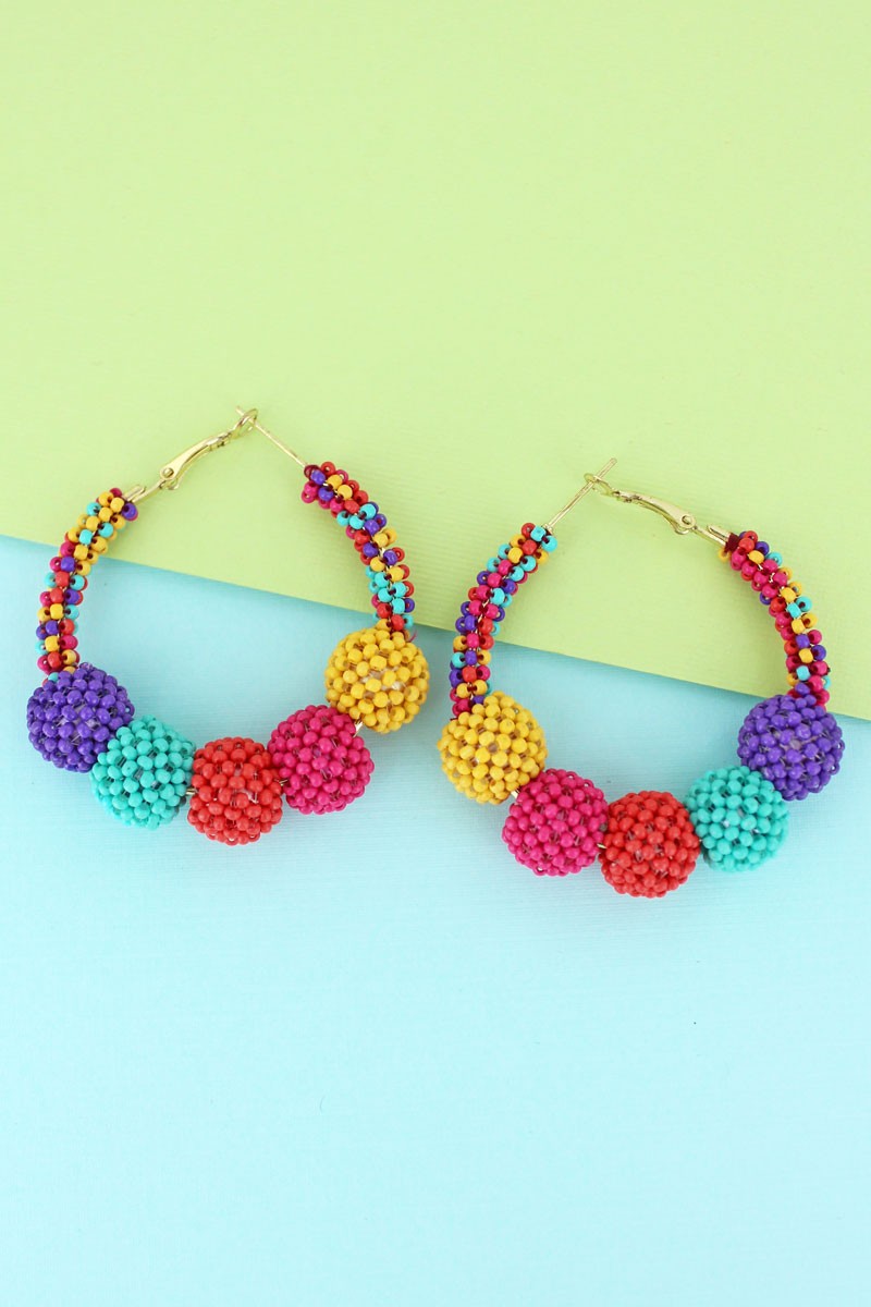 Multi-Color Seed Bead Ball Hoop Earrings