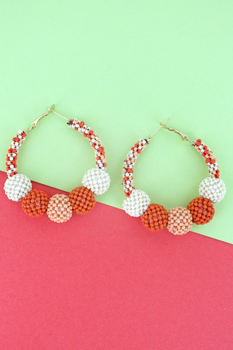 Peach Multi-Color Seed Bead Ball Hoop Earrings