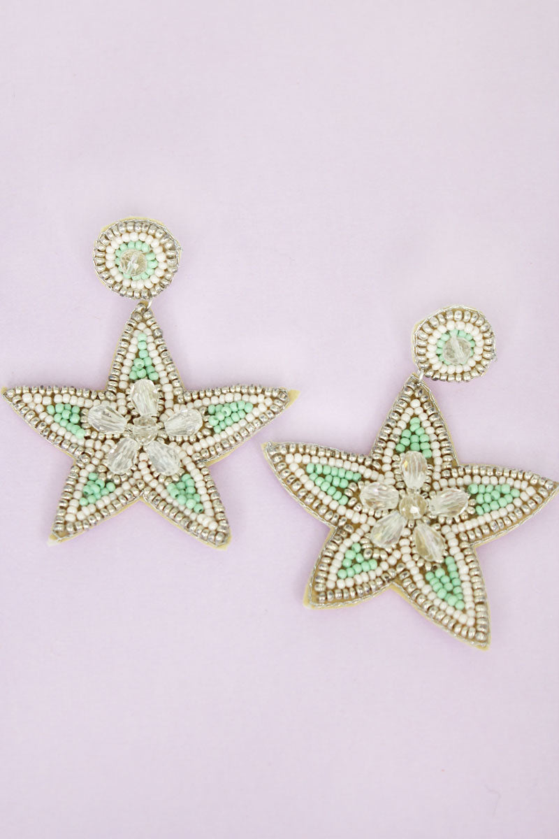 Silver Trimmed Mint and Ivory Seed Bead Starfish Earrings