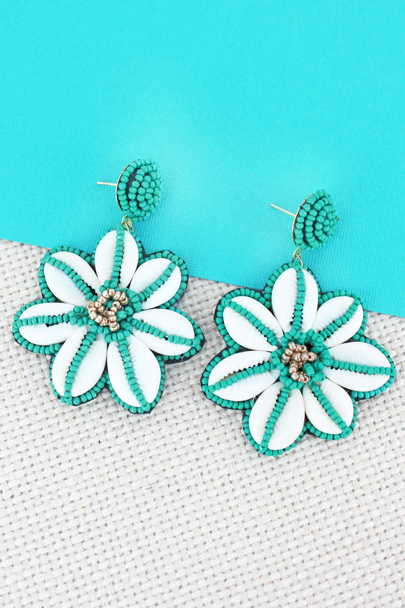 Turquoise Seed Bead and Cowrie Shell Flower Earrings