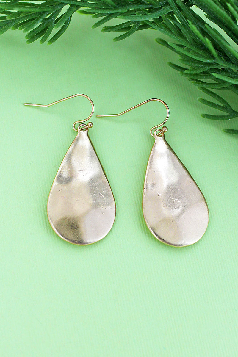 Hammered Worn Goldtone Teardrop Earrings