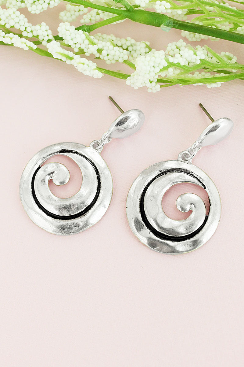 Hammered Worn Silvertone Swirl Drop Earrings