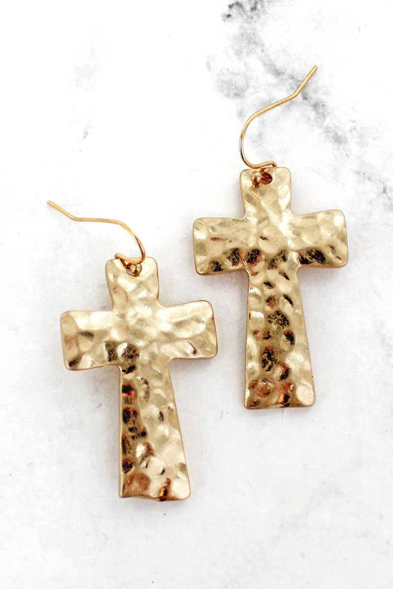 Hammered Goldtone Cross Earrings
