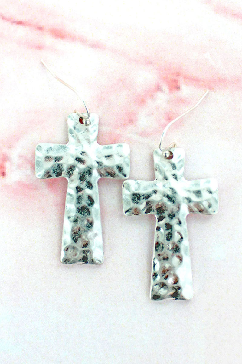 Hammered Silvertone Cross Earrings