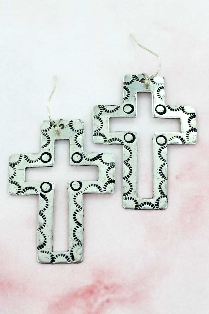 Western Silvertone Cut-Out Cross Earrings