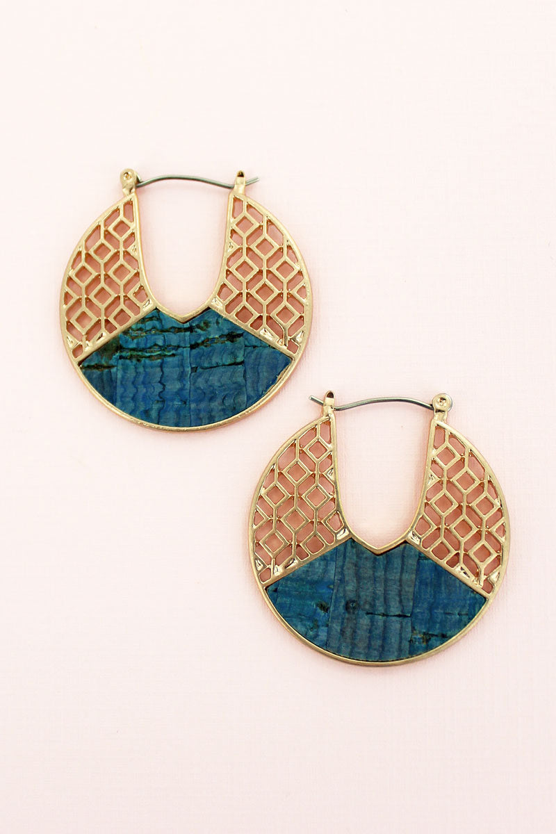 Goldtone Filigree and Blue Cork Cut-Out Disk Hoop Earrings