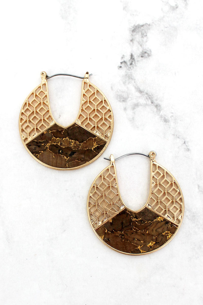 Goldtone Filigree and Brown Cork Cut-Out Disk Hoop Earrings