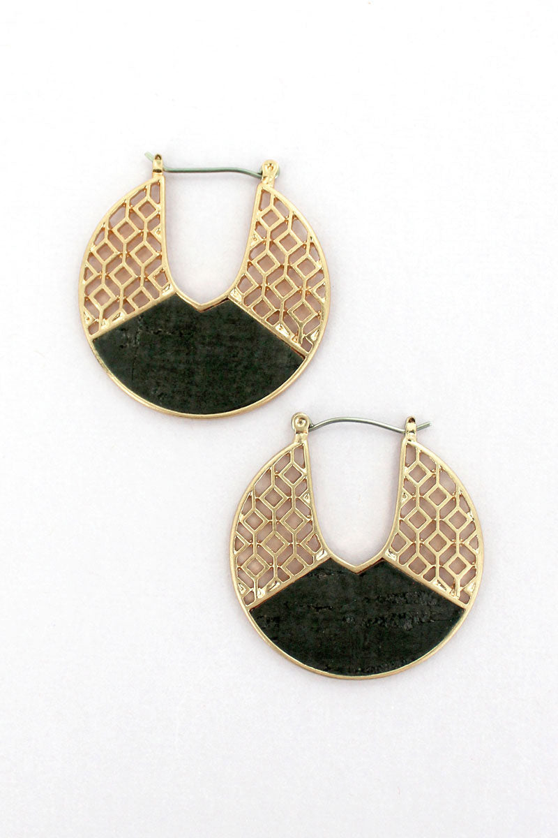 Goldtone Filigree and Black Cork Cut-Out Disk Hoop Earrings