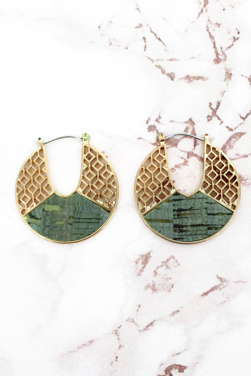 Goldtone Filigree and Mint Cork Cut-Out Disk Hoop Earrings
