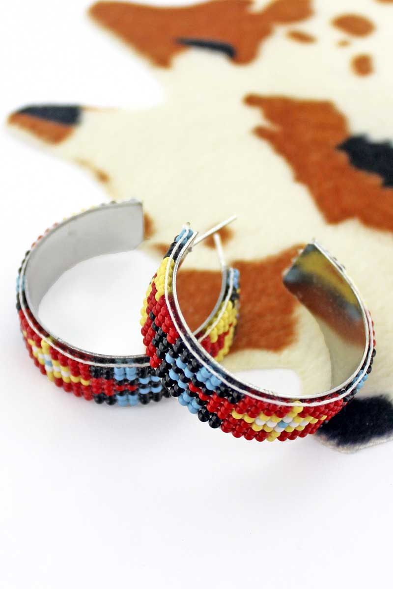 Rimrock Fire Seed Bead Hoop Earrings