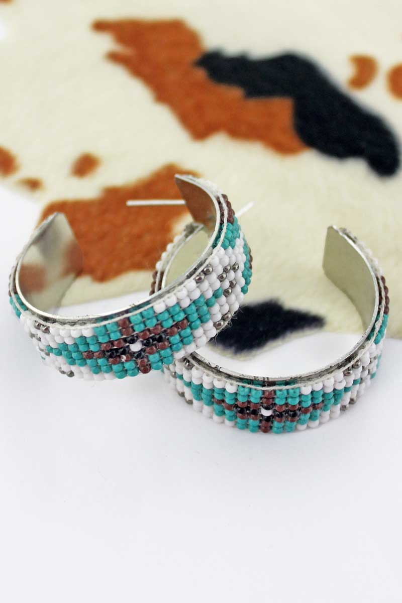 Rimrock Sand Seed Bead Hoop Earrings
