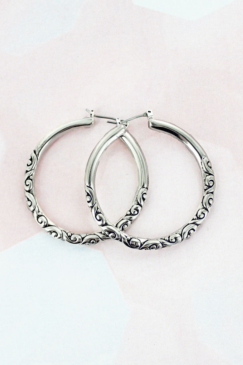 Silvertone Scroll Hoop Earrings