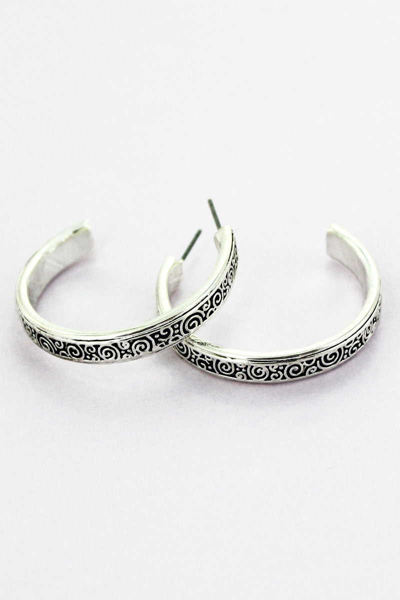Silvertone Swirl Hoop Earrings