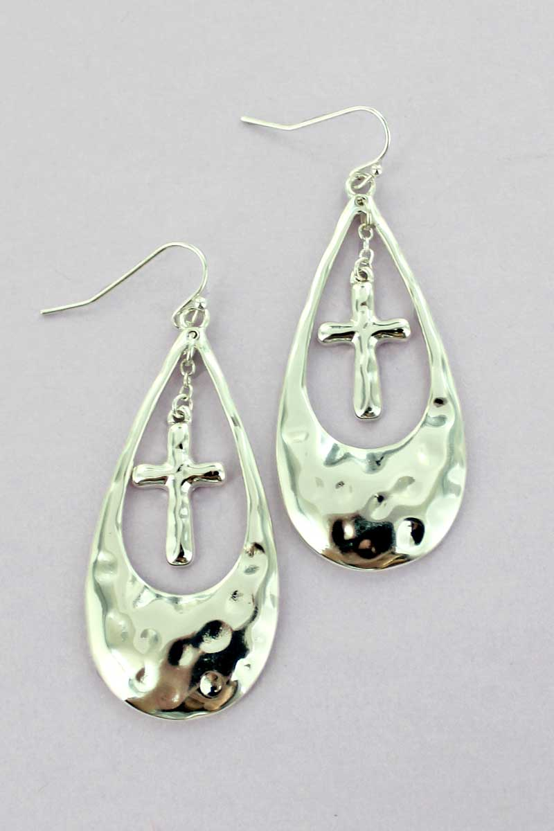 Silvertone Hammered Cross Charm Teardrop Earrings