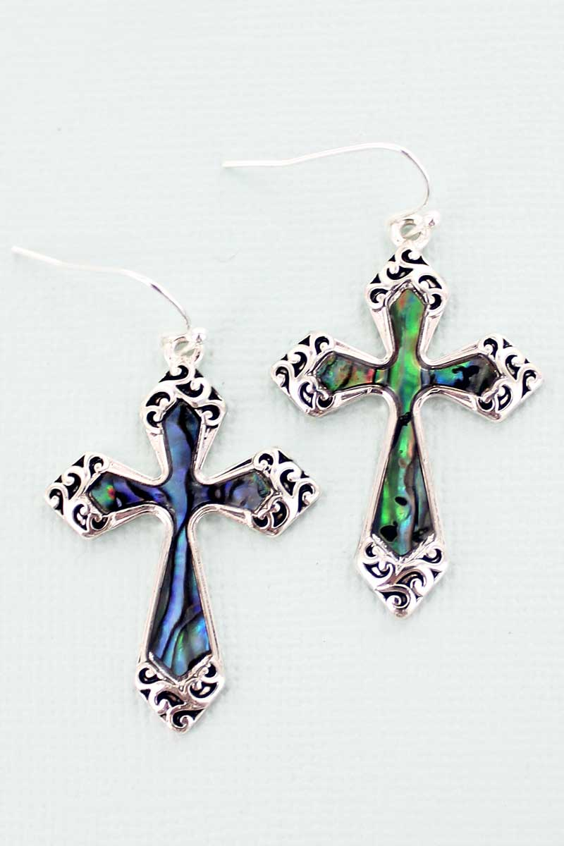 Abalone Scroll Vittoria Cross Earrings
