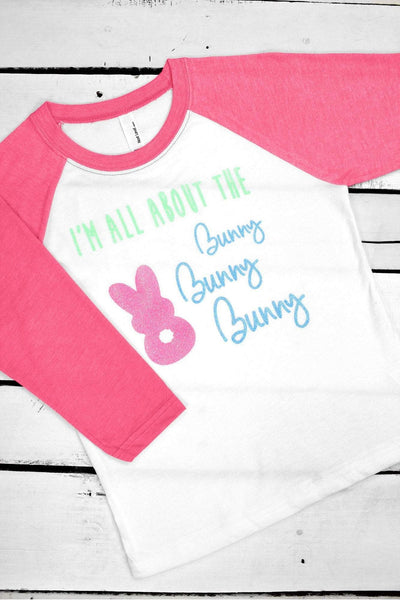 I'm All About The Bunny Youth 3/4 Sleeve Raglan (Wholesale Pricing N/A)