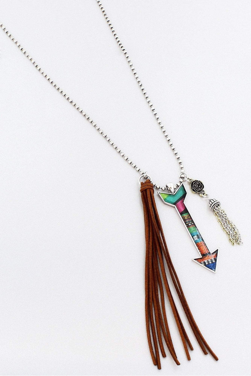 Southwestern Collage Arrow and Faux Suede Tassel Pendant Necklace #AN1463-BTTB
