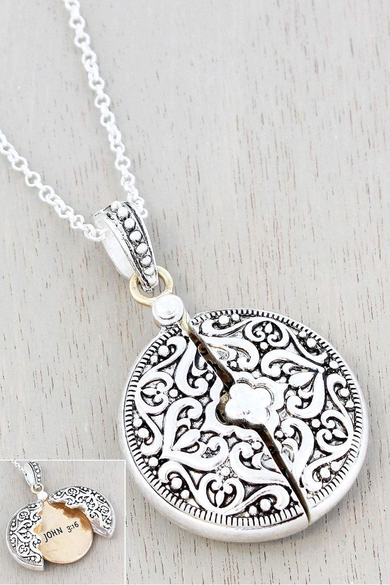 Worn Two-Tone 'John 3:16' Message Locket Necklace